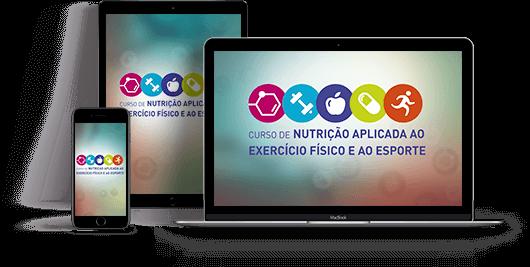 Celular, tablet e computador com o logo do curso